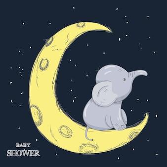 Greeting card cute cartoon Elephant