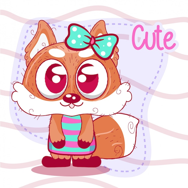 Greeting card cute cartoon fox