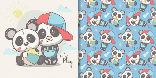 Greeting card cute cartoon panda with seamless pattern