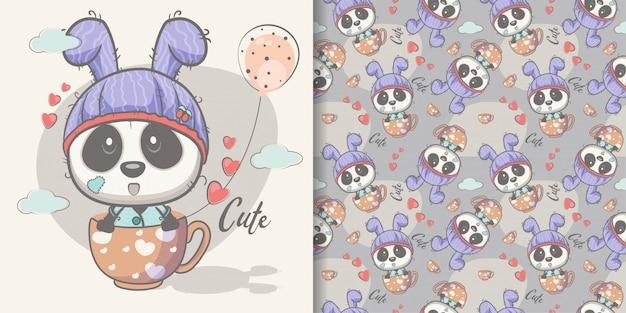 Greeting card cute cartoon panda with seamless pattern