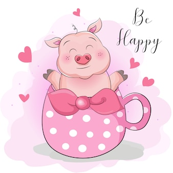 Greeting card cute cartoon pig with cup tea surprise