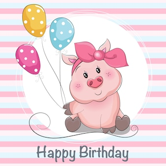 Greeting card cute cartoon piggy girl with ballons