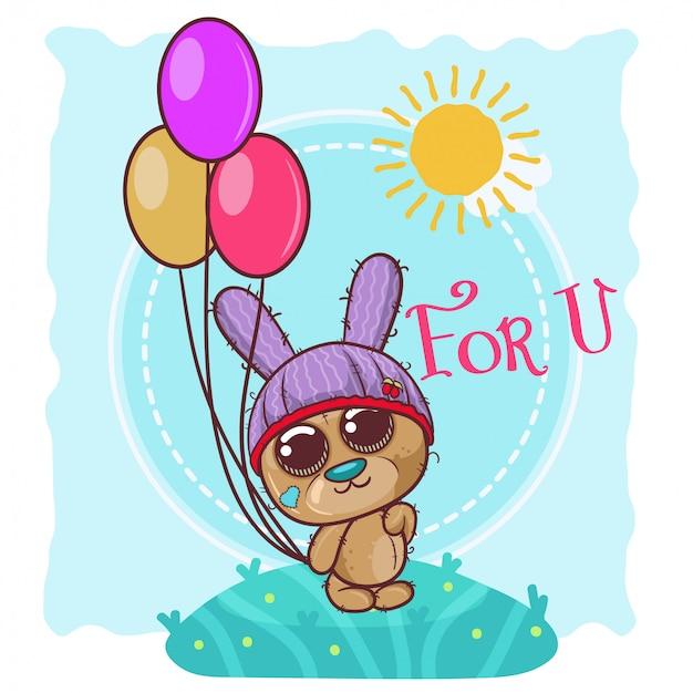 Greeting card cute cartoon teddy bear with balloons - vector