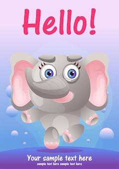 Greeting card cute elephant cartoon