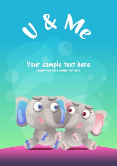Greeting card cute elephant cartoon