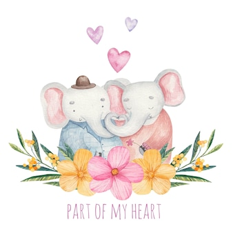 Greeting card cute elephants boy and girl with flowers, cute inscription part of my heart