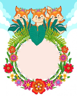Greeting card of cute foxes and flowers