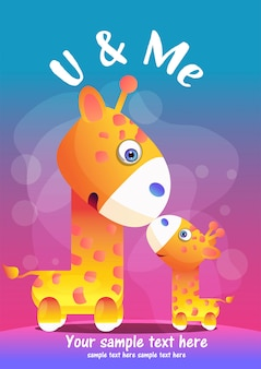 Greeting card cute giraffe cartoon