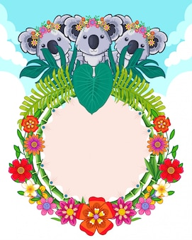 Greeting card of cute koalas and flowers