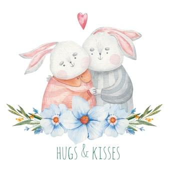Открытка милые любящие кролики мальчик и девочка в цветах синих тонов, милая надпись, детская иллюстрация на день святого валентина