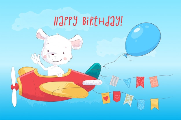 Greeting card cute mouse flying a plane in cartoon style.