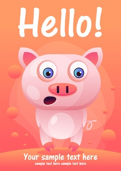 Greeting card cute pig cartoon