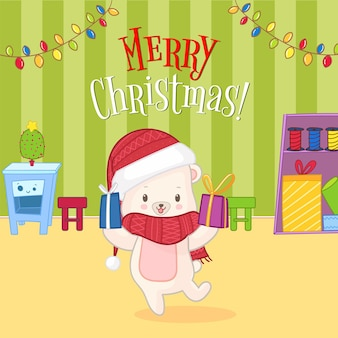 Greeting card cute polar white bear give a presents