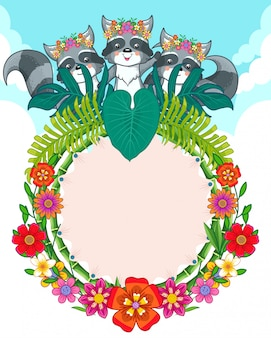 Greeting card of cute raccoons and flowers