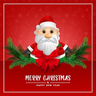 Greeting card cute santa claus on red background for merry christmas and happy new year card illustration