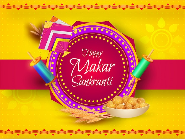 Greeting card  decorated with kite, string spool, wheat ear and indian sweet (laddu) on yellow and pink  for happy makar sankranti.