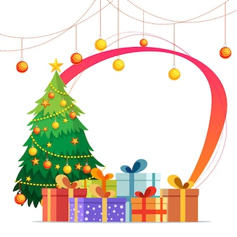 Greeting card design for Merry Christmas