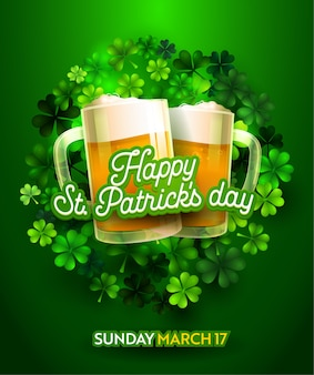 Greeting card design for happy saint patricks day on green background with handwriting lettering text. two beer glass with lucky clover leaf. holiday banner concept flat cartoon vector illustration