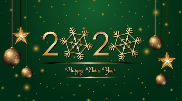 Greeting card design for new year 2020