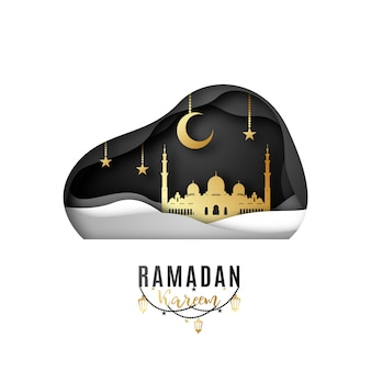 Greeting card design on the occasion of muslim's holy month ramadan.