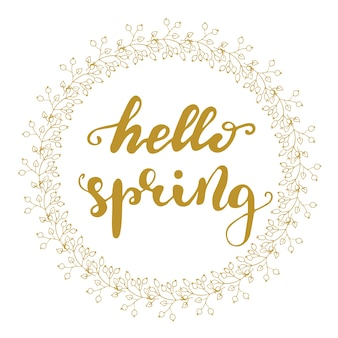 Greeting card design with lettering hello, spring. vector illustration.