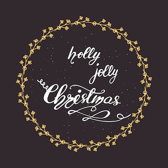 Greeting card design with lettering holly jolly christmas. vector illustration.