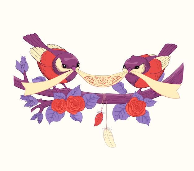 Дизайн поздравительной открытки с растениями, розами, милыми птицами, лентой и бабочками. идеально подходит для открытки с благодарностью, сохранения даты, поздравительной открытки или приглашения.