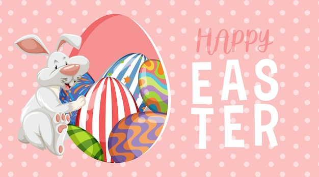 Biglietto di auguri per pasqua con coniglietto e uova decorate