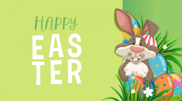 Greeting card for easter with bunny and painted eggs