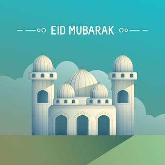 Greeting card eid mubarak ramadan concept with mosque in the morning