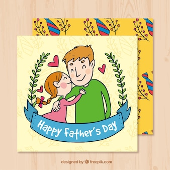 Greeting card of father with his daughter in hand-drawn style Free Vector