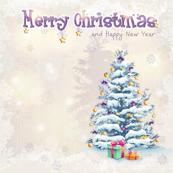 Открытка на рождество и новый год с елкой и подарками