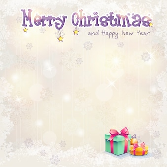 Открытка на рождество и новый год с подарочными коробками