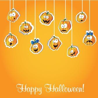Открытка на хэллоуин - забавные векторные иллюстрации