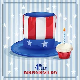 Поздравительная открытка с днем независимости 4 июля.