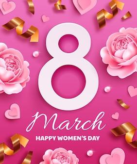 Открытка к международному женскому дню (8 марта). номер 8 с цветами, змеевиком, жемчугом и бумажными сердечками.