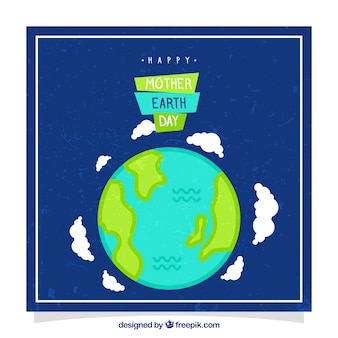 Greeting card for mother earth day in vintage style