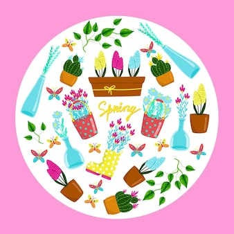 봄 방학 봄 꽃 벡터 요소 손 그리기 인사말 카드