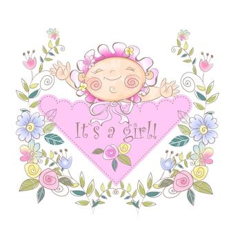 女の子の誕生のグリーティングカード。