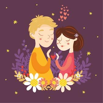 バレンタインのグリーティングカード。愛のカップル。少年と少女、心、愛