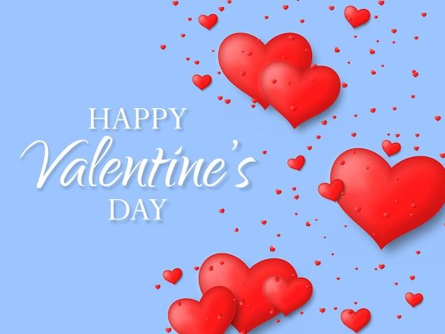 귀여운 하트와 발렌타인 데이 인사말 카드. 사랑과 마음의 날, 2 월
