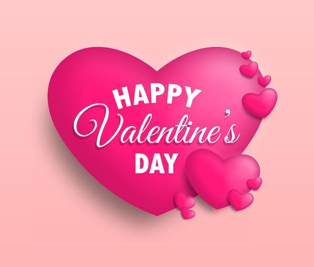 Поздравительная открытка на день святого валентина с милыми сердечками.