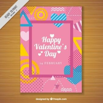 기하학적 형태와 발렌타인의 인사말 카드