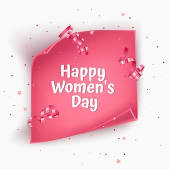 분홍색 꼬인 종이로 여성의 날 인사말 카드