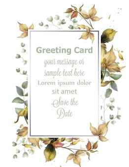 Greeting card frame with autumn leaves