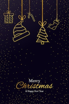 Greeting card golden creative outline merry christmas and happy new year