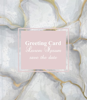 Greeting card golden gray marble background