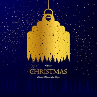 Greeting card golden tag promotion merry christmas and happy new year