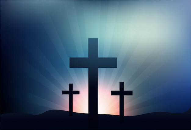 Greeting card for good friday with three crosses background