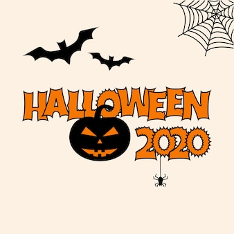 Greeting card for halloween 2020. bats, pumpkin, cobweb spider vector illustration